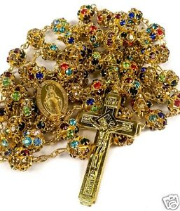 Colorful-Zircon-Beads-Golden-Rosary-Catholic-Necklace-Miraculous-Medal-Cross