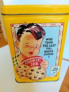 Nestle-Toll-House-Cookies-Collector-Yellow-Metal-Tin-Vintage-Scenes-amp-Recipe