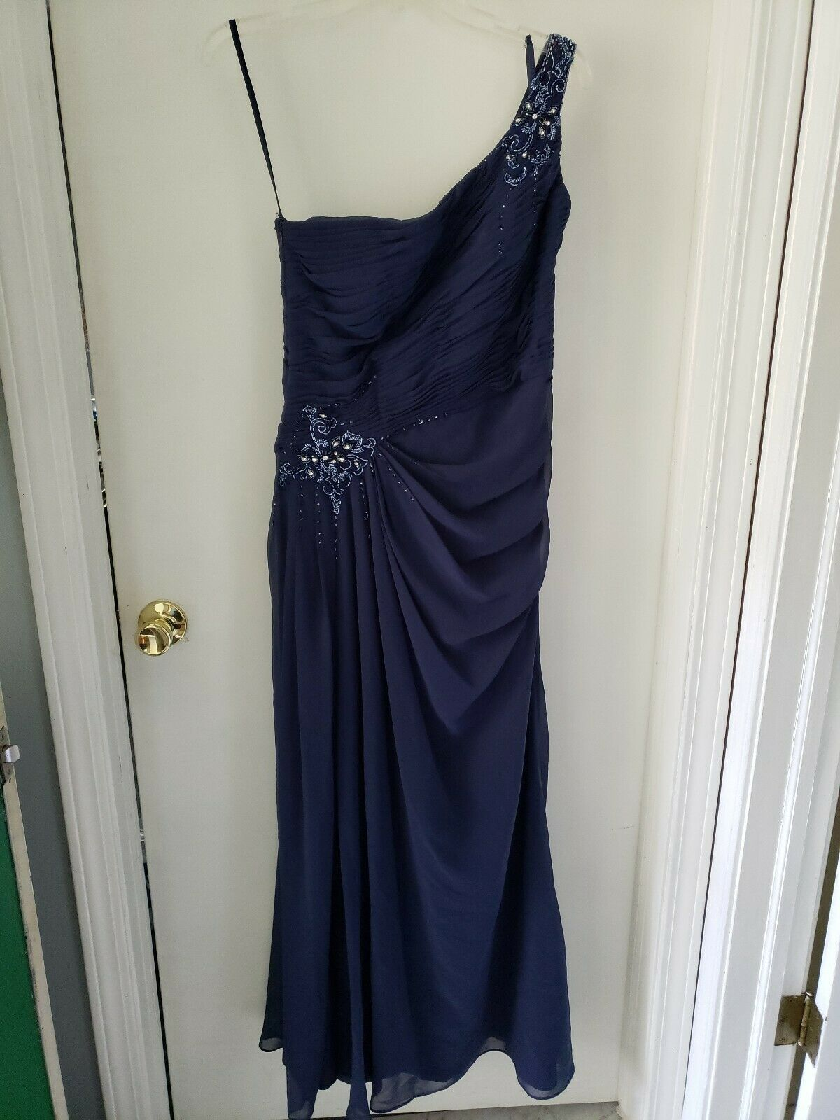 Bridal Mother Of Bride Gown Sequined Formal Gala Wedding Blue Teal Dress Sz 10
