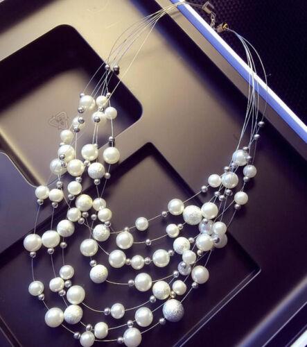 Women Jewelry Chunky Collar Statement Choker Necklace Pearl Bib Pendant Chain