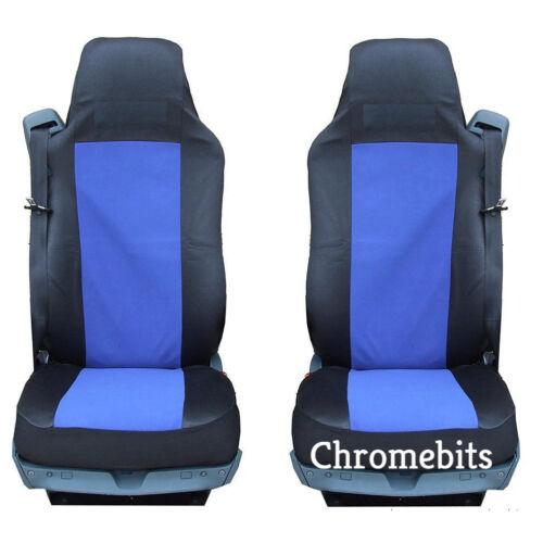 PAIR//2  BLUE-BLACK FABRIC TAILORED SEAT COVERS FOR MAN TRUCK TGA TGL TGX TGS NEW