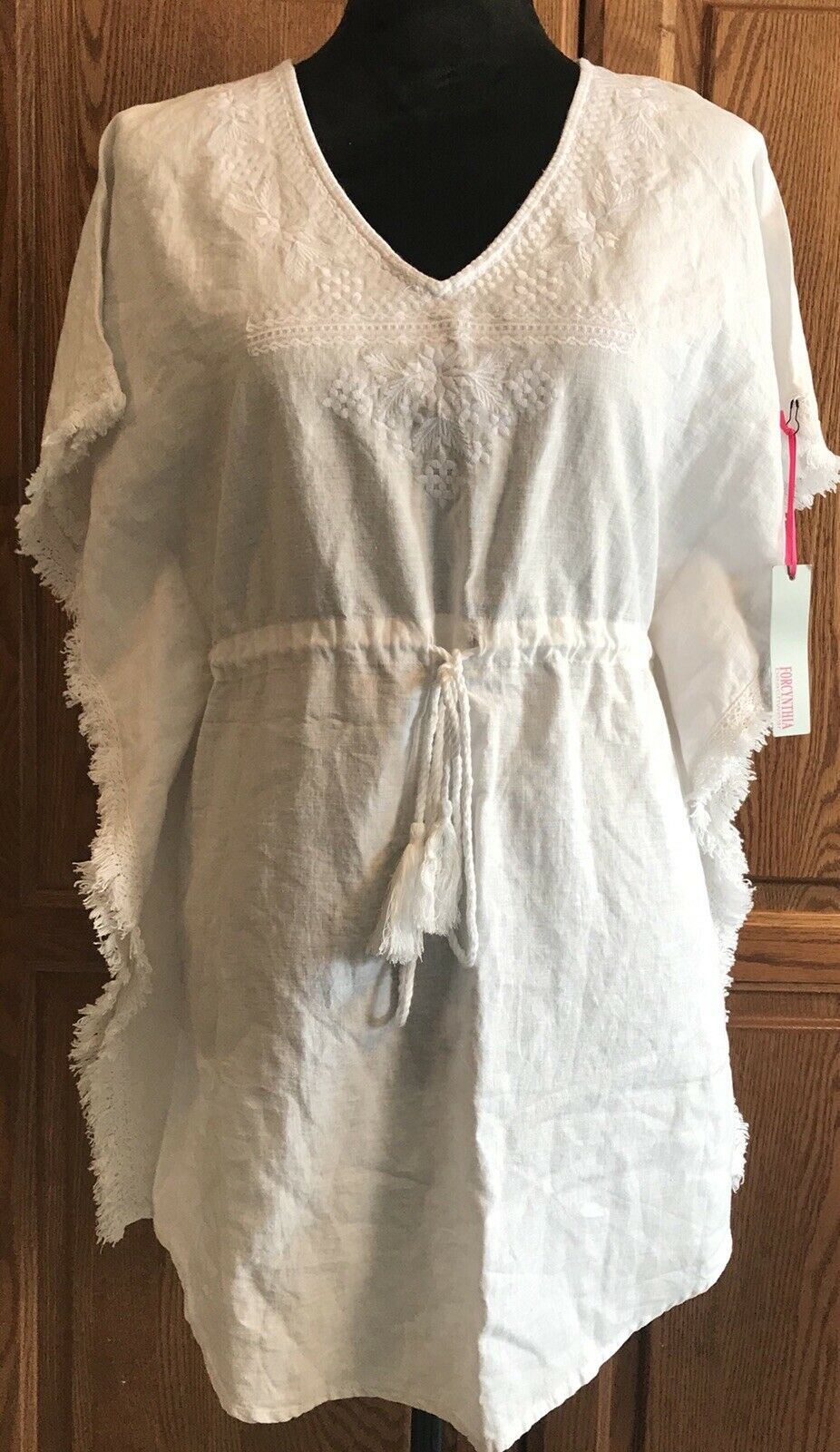 NEW FORCYNTHIA BEACHWEAR White Linen Swimsuit COVER-UP DRESS Tunic Size Small S