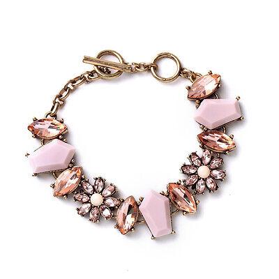 B1319 c + isabel Pink Jade Sparkling Golden Light Peach Gardenia Toggle Bracelet