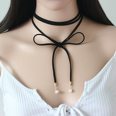 New Woman Fashion Black/Brown Charm Sexy Pearl Long Choker Necklace Jewelry