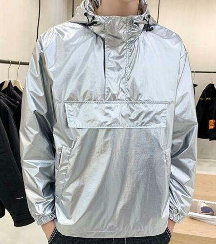 Mens Jacket Pullover Coat Hooded Casual Outwear Baseball Hot Casual Shiny Tops