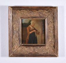 *Antique Early 1800's French Oil on Panel Painting of a Woman with Fish