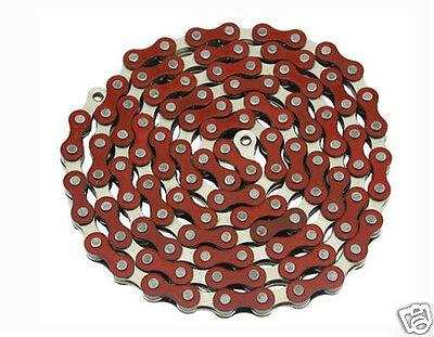 """YBN Bicycle Chain 1//2/""""x1//8/""""x112 Links Orange /& Chrome BMX Lowrider Bike 123164"""