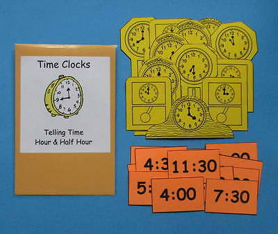 Teacher Made Math Center Resource Game Telling Time Hour & Half Hour