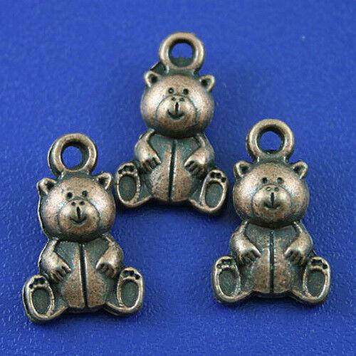 25pcs copper-tone little bear charms h2166