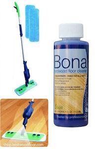 Refillable Spray Mop Kit With Bona Hardwood Floor Cleaner