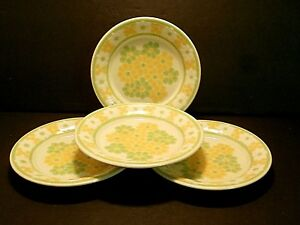 Franciscan-Picnic-Bread-amp-Butter-Plates-Yellow-Green-White-Flowers-Lot-of-4
