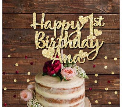 HAPPY 1st BIRTHDAY CUSTOM NAME  GLITTER CAKE TOPPER BIRTHDAY PARTY 1ST 2ND