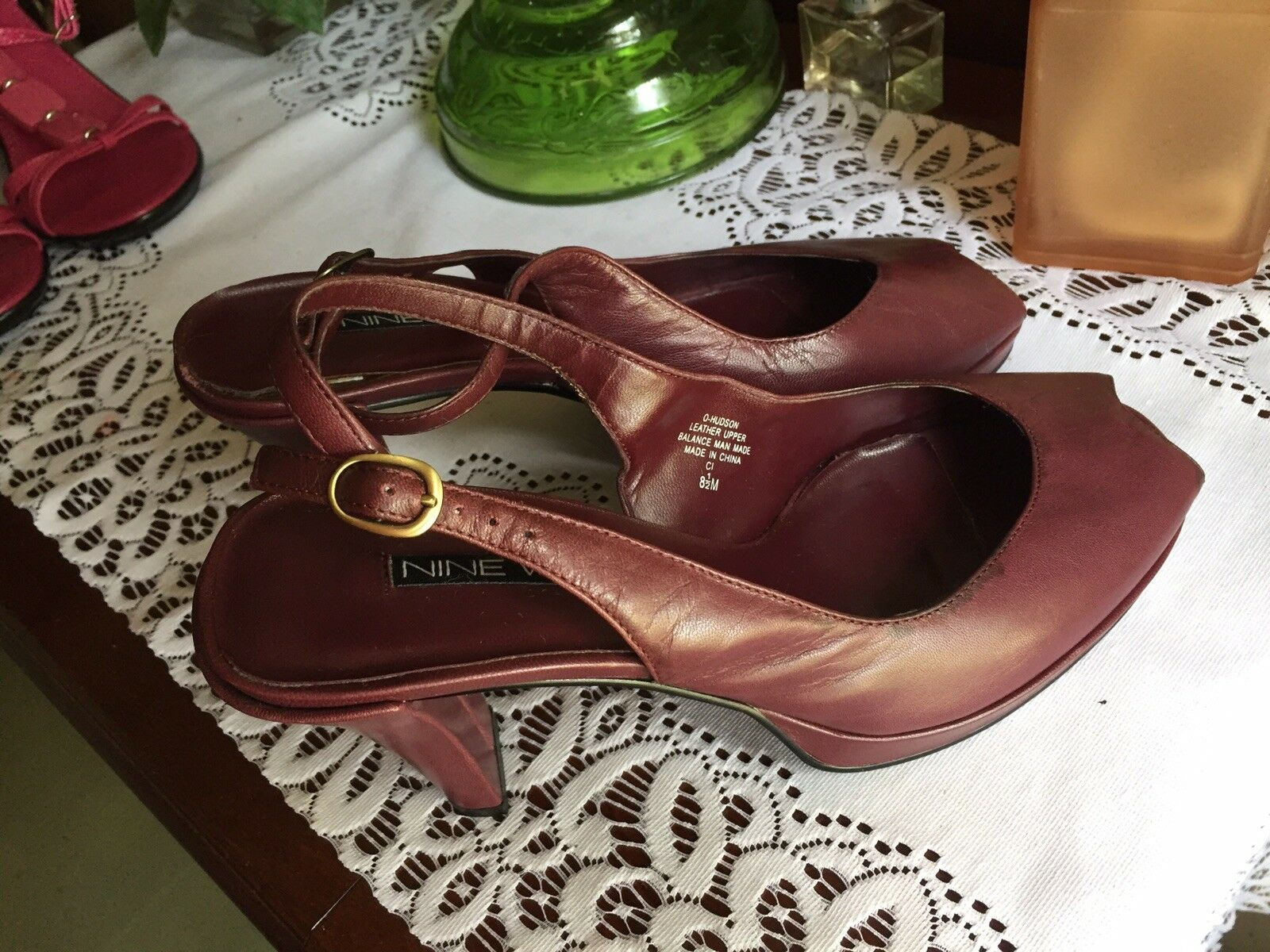 NINE WEST HEELS Peep Toe Toe Peep SIze 8.5 SLINGBACKS Platforms Burgundy 5cb647