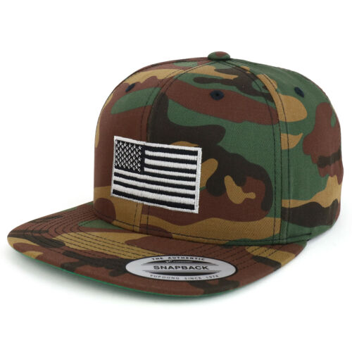 Oversize XXL Grey American Flag Embroidered Structured Snapback Cap FREESHIP