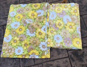 2-Vintage-FULL-Size-Flat-Sheets-Yellow-Floral-Flowers-Mod-Retro-Cannon