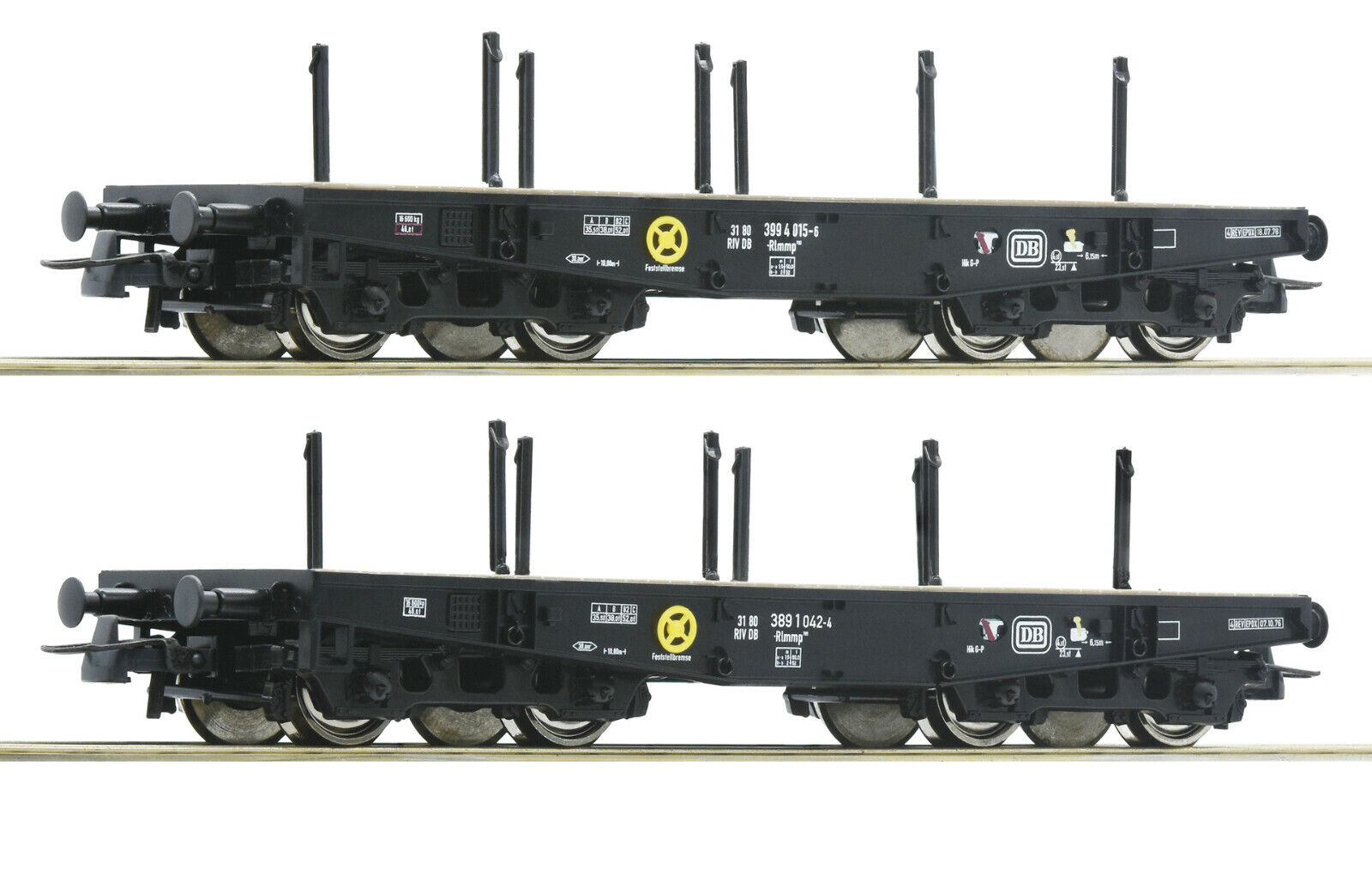 Roco 76080   2 Schwerlastwagen DB Ep IV Auf Wunsch Achstausch für Märklin gratis