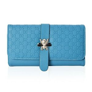 Blue-Honeycomb-Pattern-Fashion-Wallet-Clutch-Bag-with-Magnetic-Snap-Closure