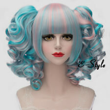 Lolita 30CM Short Blue Mixed Pink Women Girl Cosplay Wig + 2 Curly Ponytails