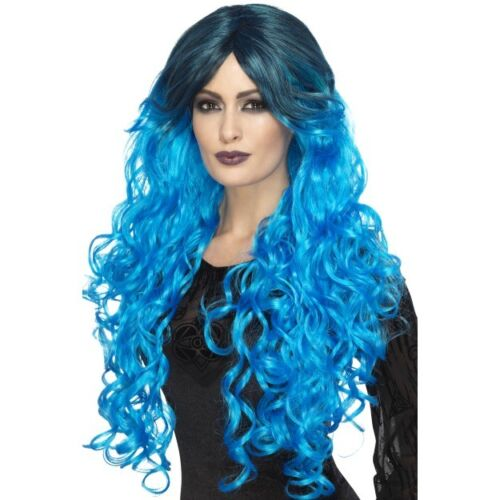 Donna Gotico Glamour Lungo Ondulato Parrucca Strega Vampiro Halloween Fancy Dress