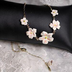 Halskette-5-Wenig-Blume-Emaille-Weiss-Rosa-Blatt-Gruen-Original-Abend-Ehe-L8