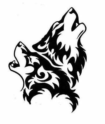 Chrome Tribal Wolf Wing Mirror Car Stickers