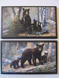 Black Bears wall decor plaques Country Cabin Pictures Rustic Lodge bear sign