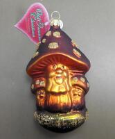 Old German Christmas Ornament Mushroom Family Toadstool Glass Tree Ornament