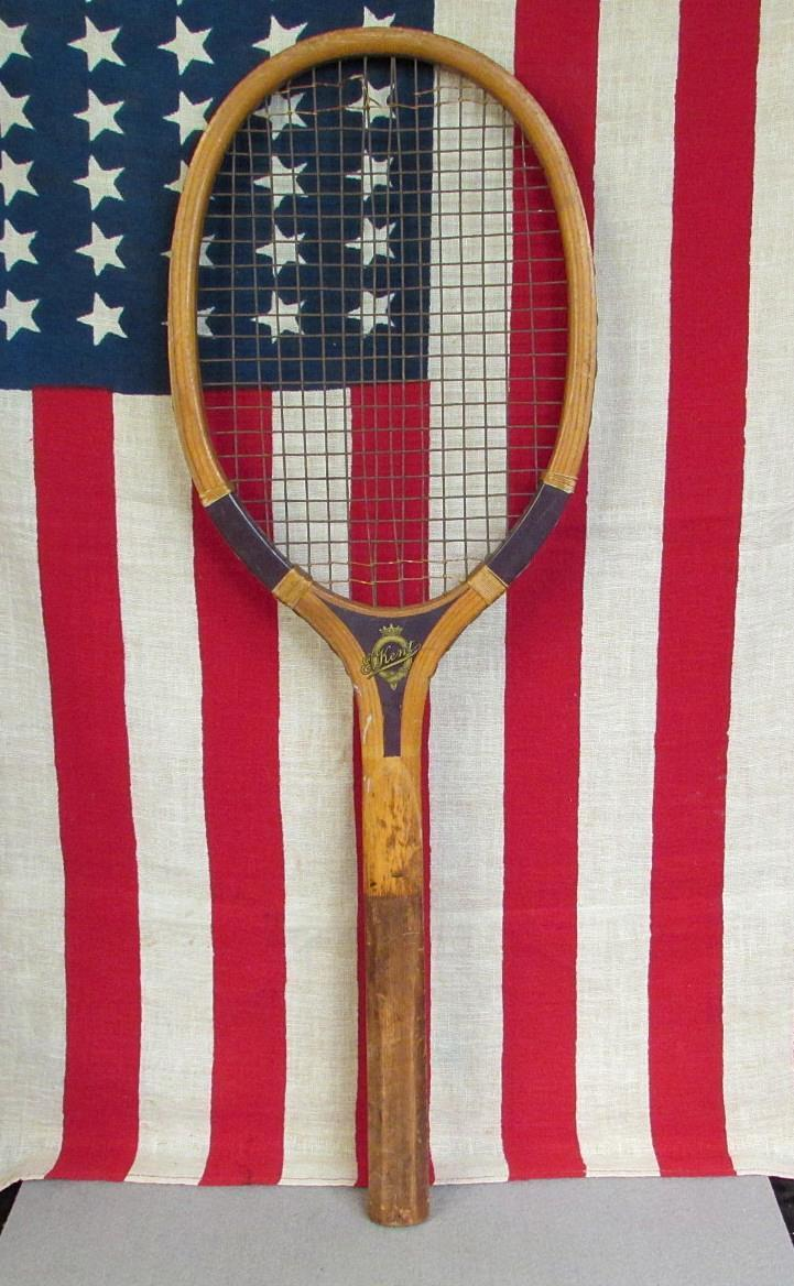Vintage 1930s E.Kent Wood Newport Model Tennis Racquet Antique Great Display