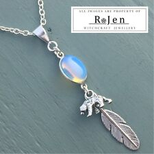 Silver Plated Opalite Totem Pendant With Bear & Feather Wicca Reiki Chakra