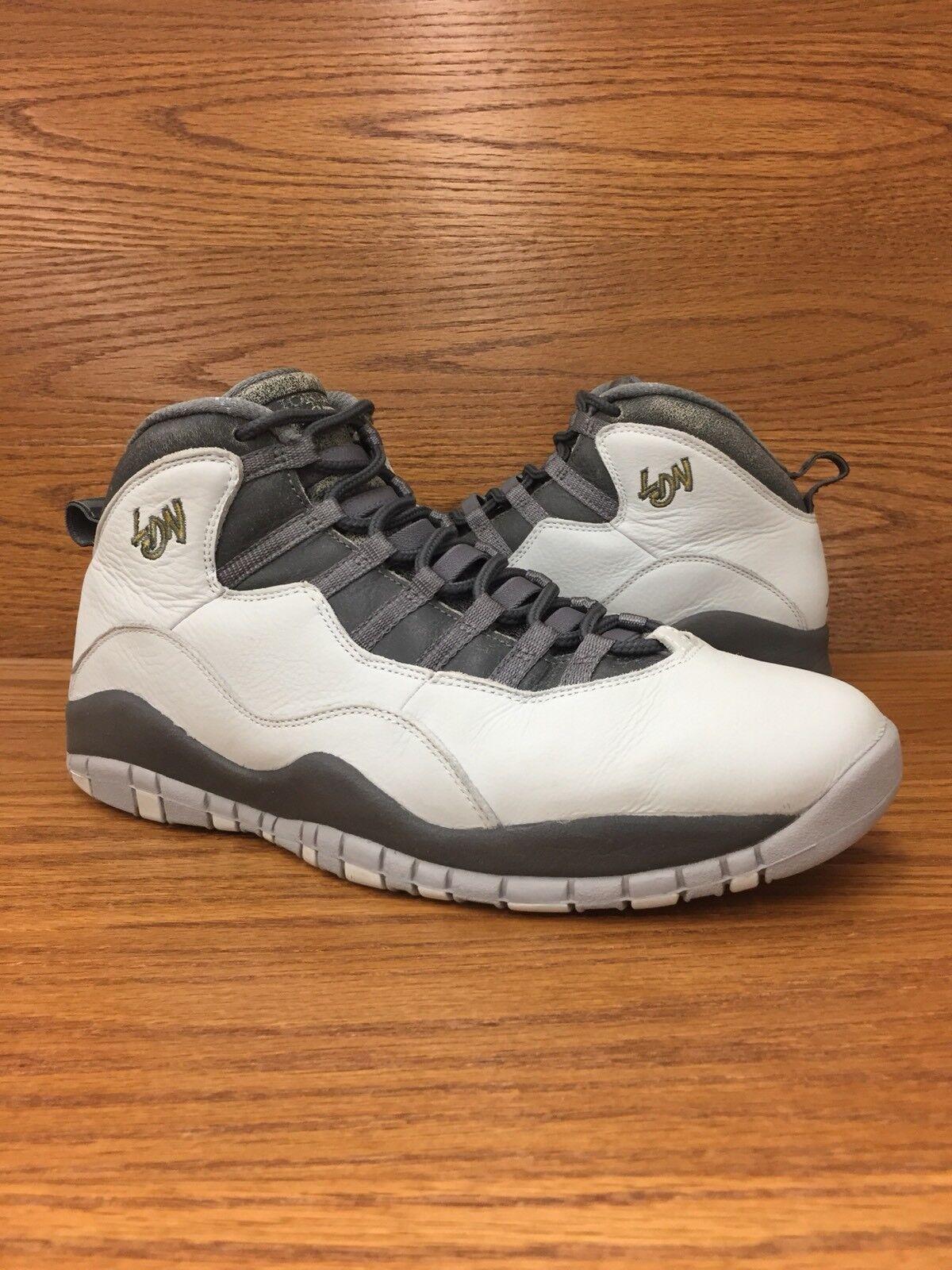 Air Jordan 10 Retro City Pack London 2018 Grey Mens Basketball Shoes Size 11