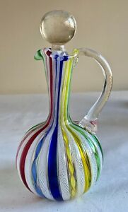 Murano-Art-Glass-Latticino-Ribbon-Hand-Blown-Cruet-Stopper-Vintage