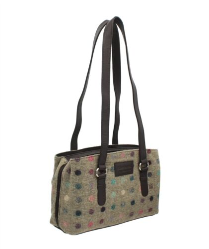 Mala Leather ABERTWEED Collection Twin Strap Leather & Tweed Shoulder Bag 72740