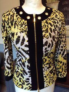 Joseph Ribkoff BNWT UK 18 Magnificent Black /&Taupe Stretch Jersey Jacket-Divine!