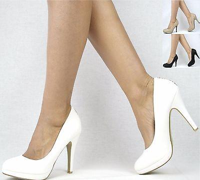 Damenschuhe Schwarz Khaki Weiß 36-41 Pumps Damen Schuhe Party High Heels Plateau
