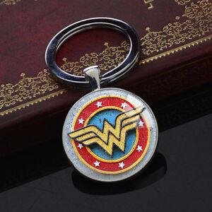 DC-Superhero-Keychains-Wonder-Woman-Key-Chain-Glass-Pendant-Silver-Keyring