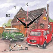 No.43 Two (2) classic Mini's Sue Podbery Wall clock handmade gift present Car