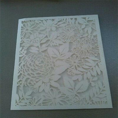 12pcs Ivory Wedding Party Laser Cut Invitation Cards Personalized With Envelopes