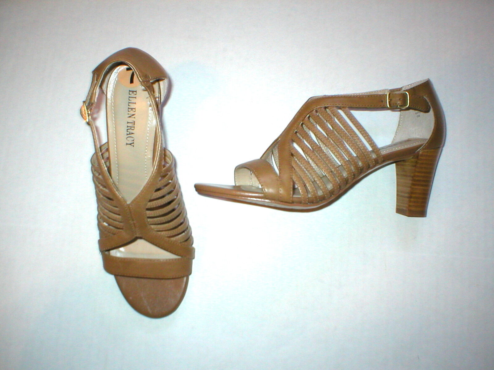 New Ellen Tracy Sandal Heels Shoes Leather Brown Leather Shoes 9.5 Open Straps Office Date 3703fb