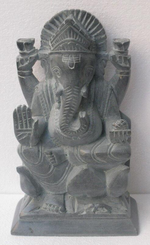 Mármol Negro Natural Indio Ganesh Ganapati religioso Arts Decoración Regalos de buena suerte