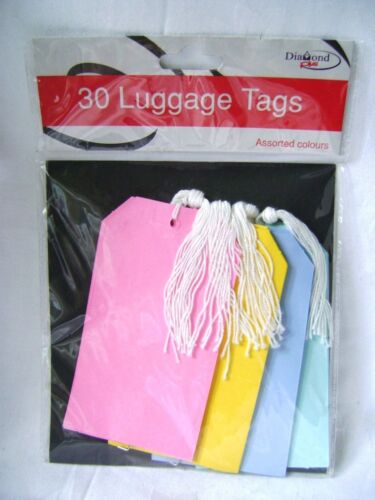 NEW 30 LUGGAGE TAGS LABELS ASSTD COLOURS CARD WITH STRING BUY 3 GET ONE FREE