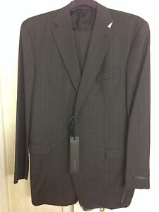 Vestimenta-Charcoal-Gray-Pin-Stripe-Suit-Black-Label-Size-US-46-Eur-56-Armani