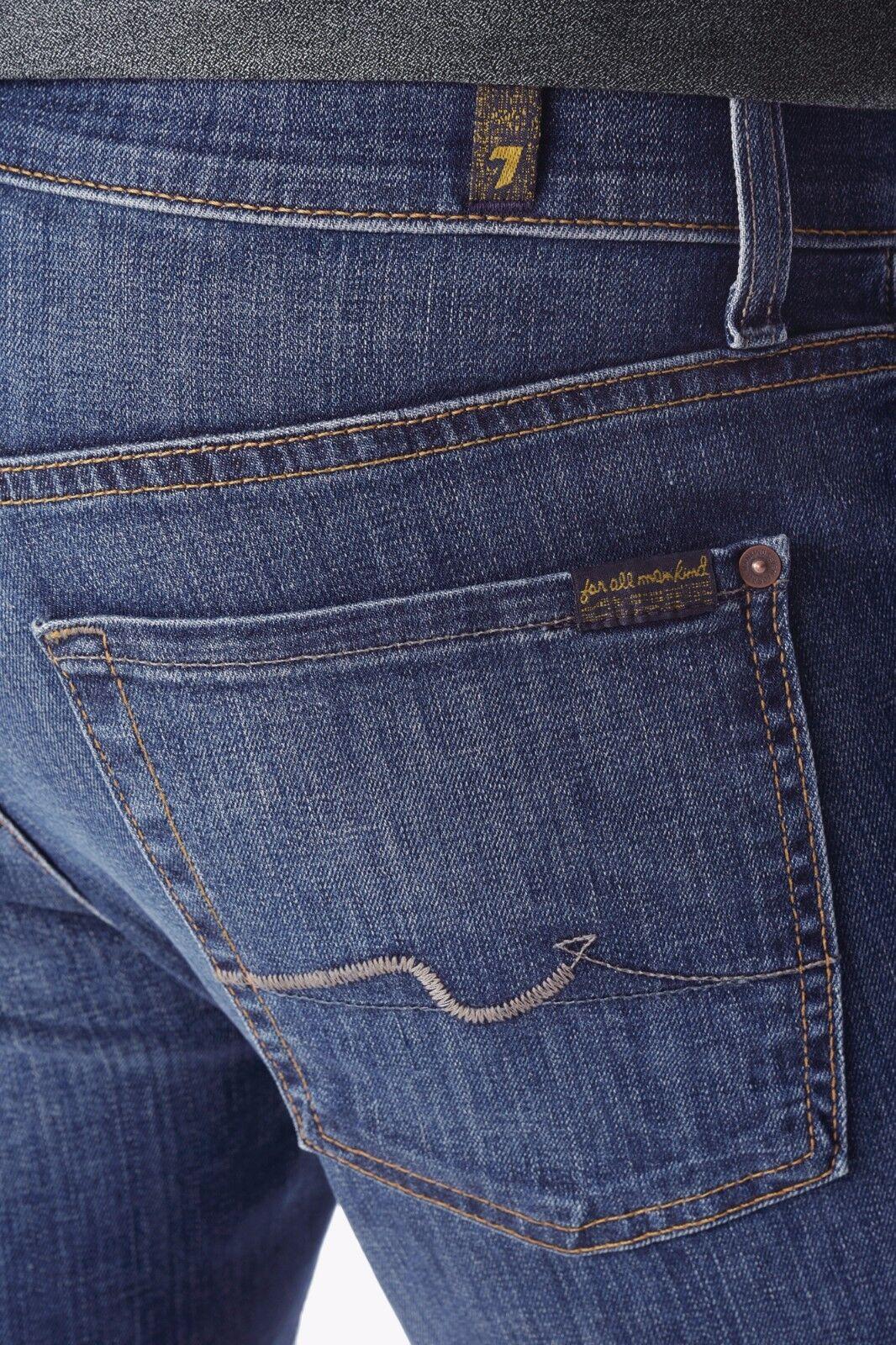 Nwt 7 für Alle Sz40 Slimmy Schmal Gerades Bein Jeans Medium Blau Huvw
