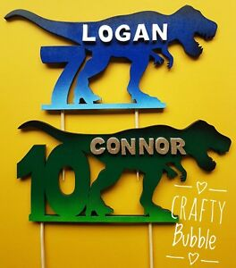 TREX-DINOSAUR-PERSONALISED-HAND-MADE-WOODEN-BIRTHDAY-CAKE-TOPPER-ANY-AGE-NAME