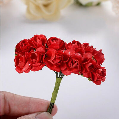 144pcs New Mini Petite Artificial Paper Rose Bud Flower Wedding Card Decoration