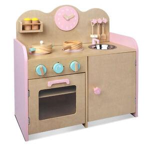 Childrens Wooden Kitchen Play Set Pretend Cooking Toy W