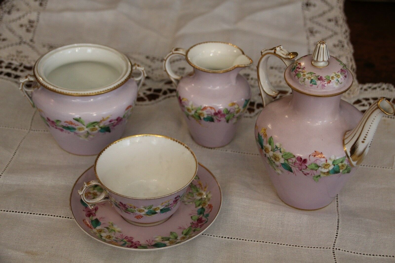 rose Sevres porcelain Tea set French porcelain tea set Porcelain tea set egoist