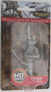 FEMALE HUMAN BARBARIAN Deep Cuts Pathfinder Battles Unpainted Miniatures D&D