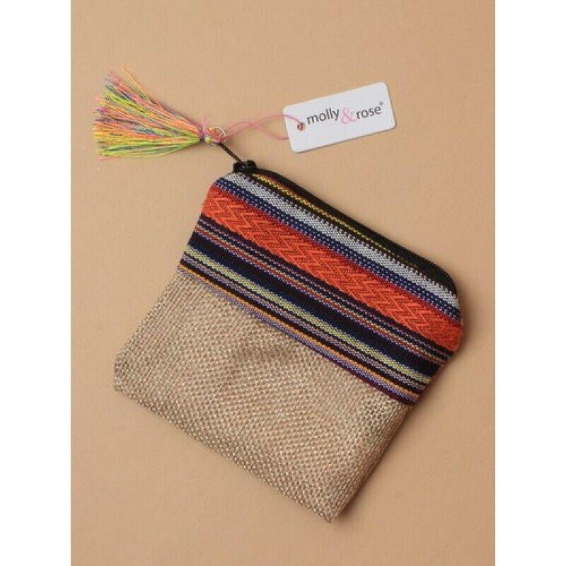 .Small Imitation jute fabric zip purse with tassel. Cream lining Size :10.5x9cm.