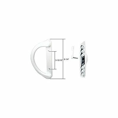 """White Sliding Glass Door Pull with 3-15//16/"""" and 4-15//16/"""" Screw"""