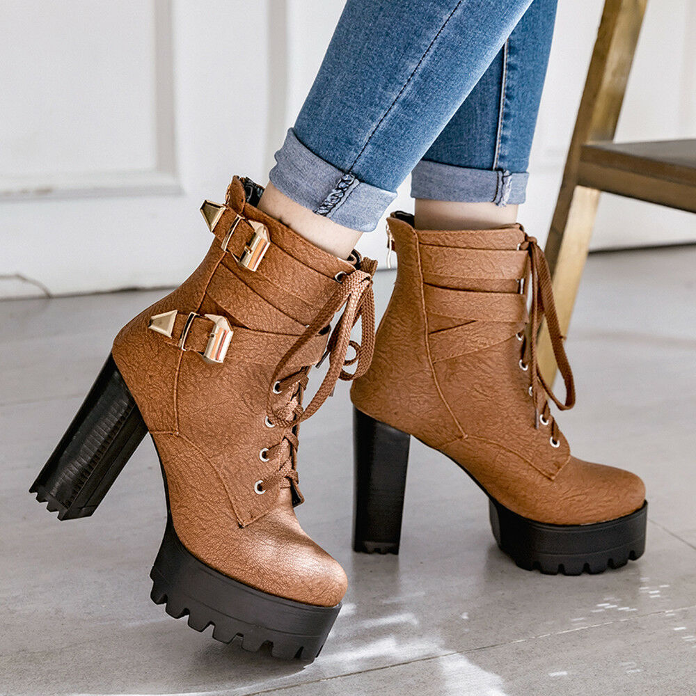 Women Ankle Boots Military Lace Up Combat Chunky Super High Heel Winter shoes